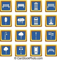 Park icons set blue
