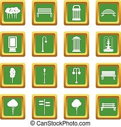 Park icons set green