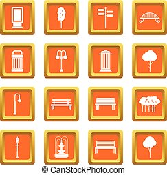 Park icons set orange