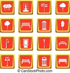 Park icons set red