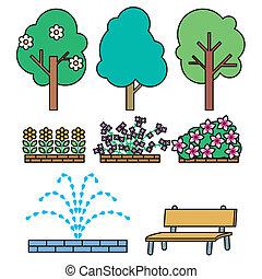 Park illust set - It is an illustration such as the plants ...