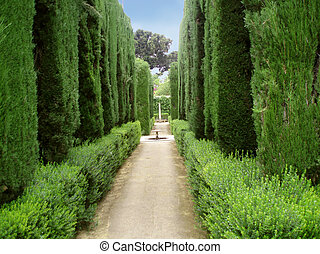 Park in Alhambra - Pathway in the famous gardens of Alhambra