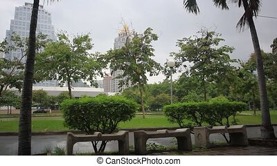 Park in Bangkok city on a rainy day
