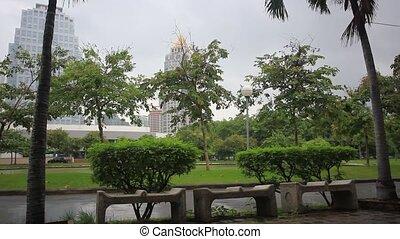 Park in Bangkok city on a rainy day