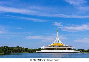 Park in Bangkok. - Shaped building nine equilateral...