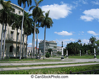 Park in central Havana on a beautiful sunny day