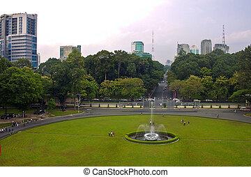 Park in front of Reunification Palace, Saigon (Ho Chi Minh CIty), Vietnam