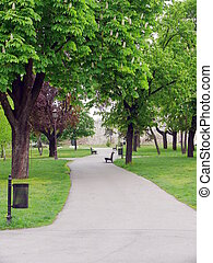 park, in, kalemegdan, burcht, -, belgrado, servië