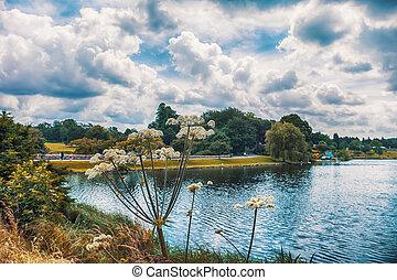 park in Kent, England - park at Leeds Castle in Kent,...