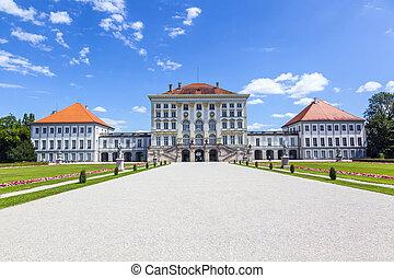 park in nymphenburg castle - facade of nymphenburg castle,...