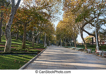 Park in the autumn day, Istanbul, Turkey