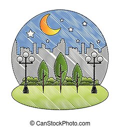 park in the city night sky landscape