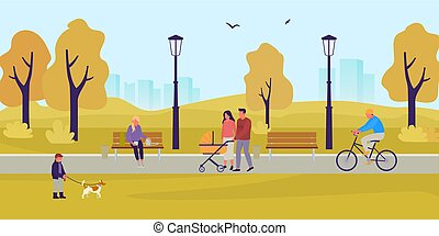 Park in the fall. People walk in the autumn park. A boy is playing with dog. Couple with stroller in the park. Girl sitting on bench with smartphone. Guy rides bicycle. Flat style vector illustration