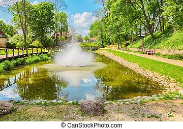 Park in the Town Kuldiga, Latvia