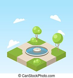 Park isometric vector illustration