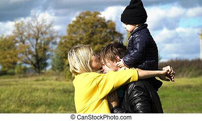 park., jeune famille