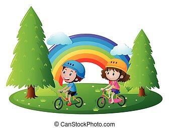 park, jongen, meisje, fiets te rijden