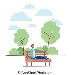 park, junger, gesetzt, stuhl, männerbart