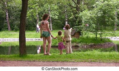 park, kinderen, moeder