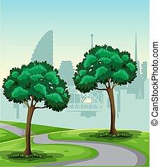 park, krajobraz, natura