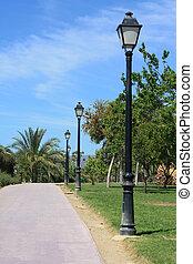 park, laan, en, lamppost