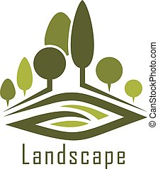 Park landscape icon with alleys and lawn - Summer park...