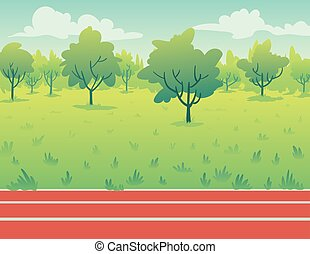 Park Landscape with running track. Environment.
