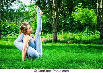 park, lato, yoga