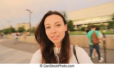 park., m�dchen, video, haben, machen, selfie, spaß, junger