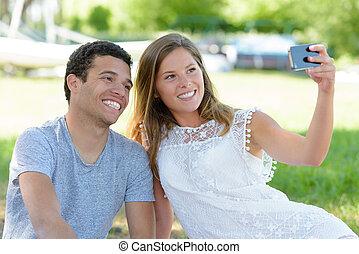 park, młody, selfie, para, wpływy