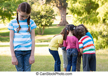 park, mały, poza, dziewczyna, czuły, lewa strona