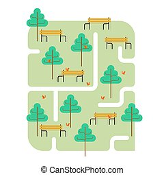 Park map. Path and tree. Bench and squirrel. Square landscape