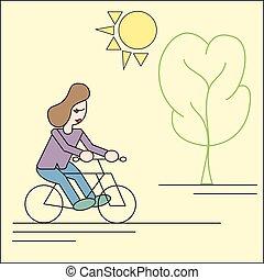 park, meisje, ritten, fiets