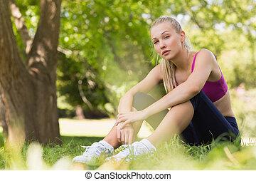 park, mooi, gezonde , lengte, volle, vrouw