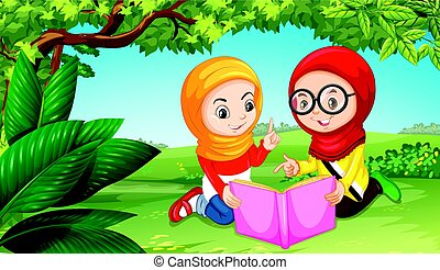 park, moslim, meiden, twee, boek, lezende
