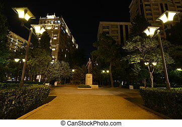 Park named after Alexander Sergeevich Pushkin in the evening in Baku