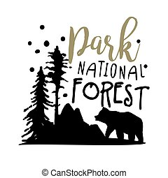 Park national forest promo sign, hand drawn vector Illustration
