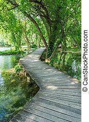 park, national, krka, kroatien, strandpromenade