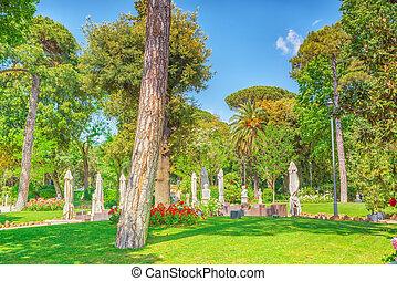 Park near beautiful Villa Medici in Rome. Italy.