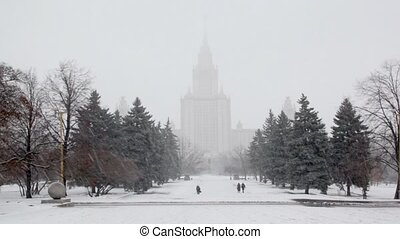 Park near main building of Moscow State University, snowfall...