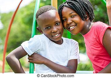 park., niños, tiro, africano, cara