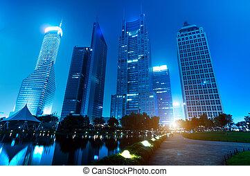 Park night view - Shanghai Lujiazui financial district, Park...