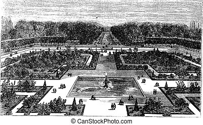 Park of Fontainebleau in France vintage engraving