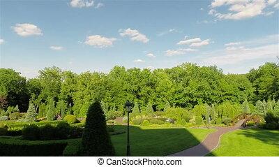 Park of homestead Mezhyhiria, Ukraine. Dolly camera movement