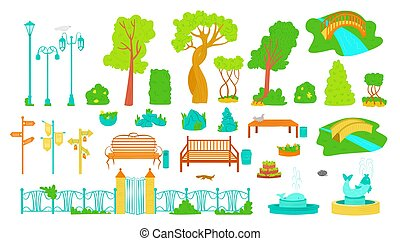 Park outdoor elements, trees, benches, lamppost and fontains...