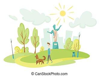 park., pelouse, grand, fond, sien, végétation, arbres, milieu, centre ville, monument, marche, ville, chien, paysage, houses., parc, plat, grand, vert, style., jeune homme