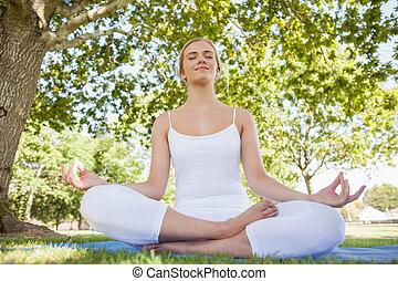 park, piękny, prospekt przodu, medytacja, kobieta, zamknięty, młody, oczy, posiedzenie