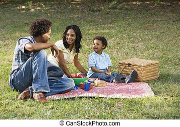 park., piknik, rodzina