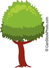 Park plant isolated on white background. Green tree, bush and grass. Vector illustration in cartoon simple flat style.