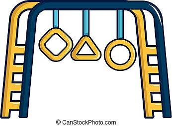 Park playground equipment icon, cartoon style